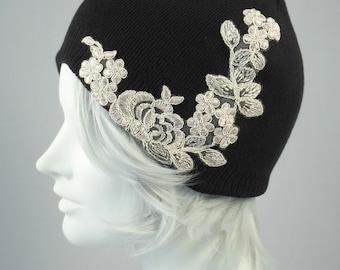 Knit Beanie Skull Cap Cotton Knit Hat Black With Lace Applique