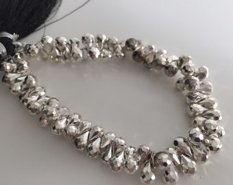 1/2 strand of silver coated pyrite drops