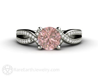 Pastel Pink Sapphire Engagement Ring Pink Sapphire Ring Infinity Criss Cross Solitaire