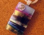 Dichroic Glass Pendant - Fused Glass Jewelry - Scenic Pendant - Landscape Pendant - Dichroic Jewelry- Tree Pendant