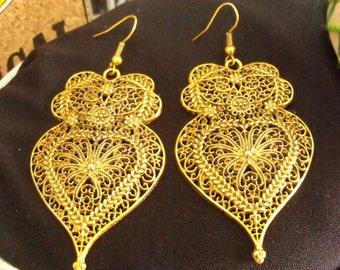 Heart of Viana earrings Portuguese gold tone filigree