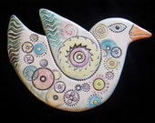 Ceramic Stoneware Bird wall hanging for home or garden