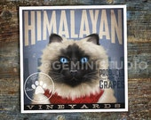 Himalayan Cat Wine Company graphic artwork bar art signed artist's print by stephen fowler Pick A Size