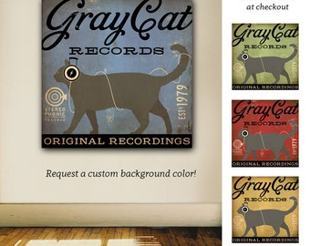 Grey gray CAT records original graphic illustration art on gallery wrapped canvas by stephen fowler