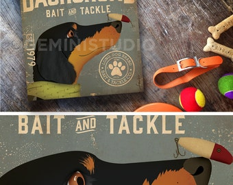 Dachshund dog fishing Bait and Tackle fishing illustration Canvas artwork graphic on gallery wrapped canvas