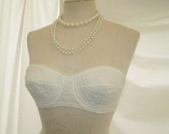 Vintage Strapless White Bra Vintage 50s Lace wedding lingerie Low Cut bridal lingerie Charmode Sears 34A