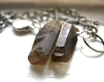 Smoky Quartz Crystal Point Bracelet, Gemstone Bracelet, Handmade Artisan Crystal Jewelry