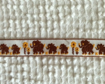 Vintage Embroidered Trim - Trios of Brown Elephants and Yellow Daisies on White Background - Perfect for Kids and Babies - By the Yard
