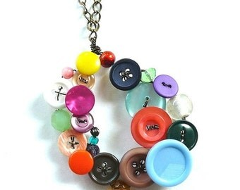 ON SALE Button and Bead Jewelry Big Funky Colorful Oval Statement Piece