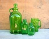 Vintage Green Glass Bottles & Mug Lot, Medicine Bottles, Wine Jug, Hobnail Handled Mug, Home Decor, Collectible