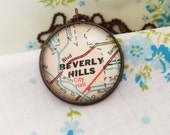 Beverly Hills, California Necklace~Custom Vintage Map Pendant~Beverly Hills Hometown Keepsake Jewelry~Going Away Gift~Presenr for Travelers