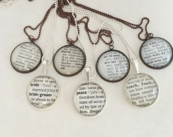 Dictionary Definition Necklace, You Choose the Word, Gift for New Mom, Bridesmaids, Teacher, Grandma, Sister, Boss, Bff Gift