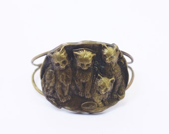 Cat bracelet brass cuff kitten bronze kitty retro vintage style large