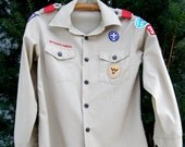 Vintage Boy Scouts Shirt - Badges - Youth Large