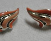 Orange Enamel Clip Earrings