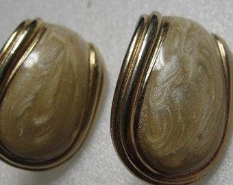 Cream Enamel Silvertone Pierced Earrings