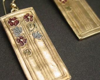 Daisies Art Deco earrings - colorized
