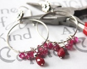 Ruby and Silver Gypsy Hoop Earrings, Silver and Ruby Boho Hoop Earrings, Genuine Ruby and Sterling Earrings July Birthstone Jewelry
