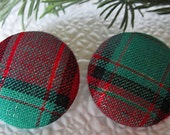 "FABRIC Covered EARRINGS--1  1/8""--Button Style--28mm--Surgical Steel--Hypo-Allergenic Posts--RED and Green Plaid--Christmas--Trendy"