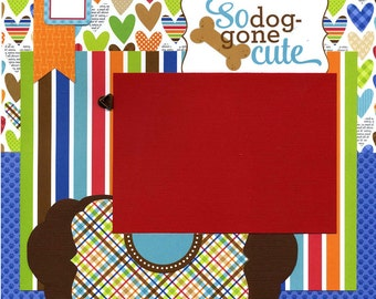 So Dog-gone Cute - Premade Dog Scrapbook Page