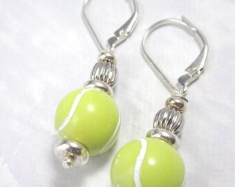 Tennis earrings - sports earrings - tennis ball earrings - tennis player jewelry - optic yellow - tennis ball earrings