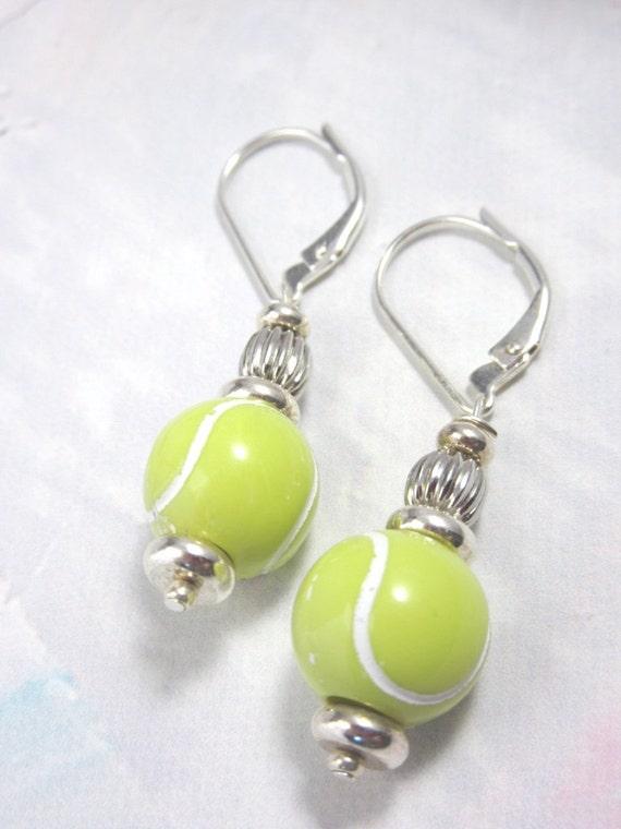 Tennis earrings - sports jewelry - tennis ball earrings - tennis player jewelry - optic yellow - Gwynstone handmade