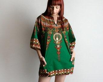 ON SALE Vintage 1970s Dashiki - Emerald Green Ornate African Print Mini Dress or Blouse Shirt Top - Large