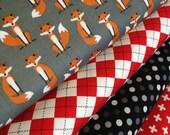 Fabulous Fox Fabric Bundle of 4, Woodland Animal, Gray Fox fabric, Andie Hanna- Geometric fabric,  Boy fabric, Woodland Creatures fabric