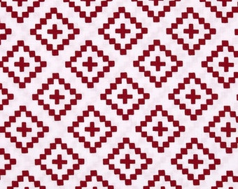 Geometric fabric, Into the Woods fabric by Moda, Red fabric, Tribal fabric, Modern fabric, Hipster fabric, Red fabric, Choose your cut