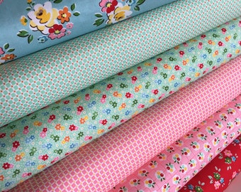 SALE Backyard Roses Fabric bundle of 6, Retro fabric, Quilting Fabric by Nadra Ridgeway for Riley Blake Fabrics- Choose the Cuts