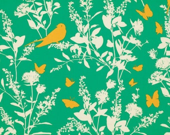 SALE fabric, Bird fabric, Green Fabric, Boho fabric by Joel Dewberry fabrics, Swallow Study in Emerald, Quilting fabric, Discount fabric