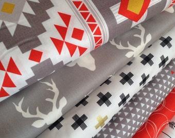Tribal fabric, Aztec fabric, Boho fabric, Gold fabric, Four Corners fabric bundle of 6 by Riley Blake, Deer fabric, Fat Quarter to Yards