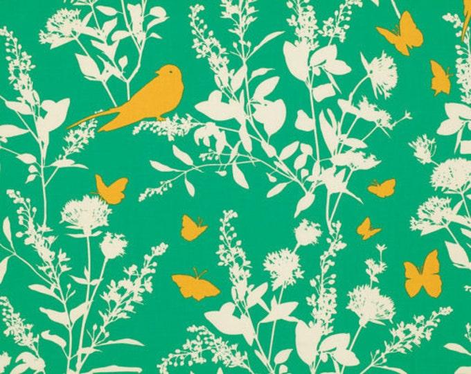 SALE 6 dollars/yard fabric, Bird fabric,, Boho fabric by Joel Dewberry fabrics, Swallow Study in Emerald, Quilting fabric, Discount fabric