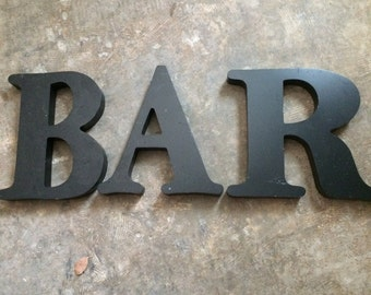 VINTAGE DECOR...BAR~ black letters ~ industrial metal~ sign ~ wall decor~ steampunk ~ kitchen bar lounge ~rare find