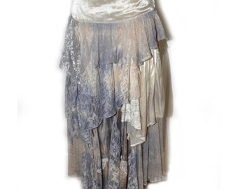 Vintage 1980's Long Tiered Lavender Lace Skirt by Harold Maike