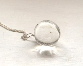 Gift for her, Dandelion seed necklace, christmas present, ladies gift, xmas, jewellery, quirky present, girls gift, silver necklace