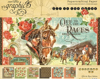 Graphic 45 Off to the Races 8x8 Paper Pad