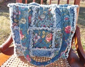Rag Quilt Tote, Blue Floral, Handmade, Rag Quilt Handbag