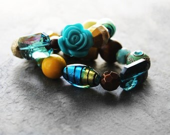 Stretch Bracelets, Beaded Bracelets, Chunky Bracelets, Bracelet Set, Turquoise, For Her, Water is Life Beaded Stretch Bracelet Set