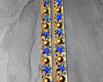 Leather Earrings, Long Leather Earrings, Bejeweled Earrings, Statement Earrings, Blue, Gold, Glamor Glitz Long Leather Bejeweled Earrings