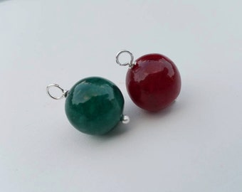 Emerald Green and Ruby Red Jade - Add on charm, add on for pendant and bracelet wire wrapped gemstone, handmade dangles