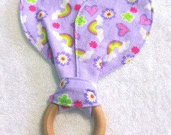 Bunny Ears Teething Ring, Purple Rainbows, Maple Hard Wood Teething Ring
