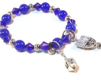 Chanukah Blue Glass Charm Bracelet