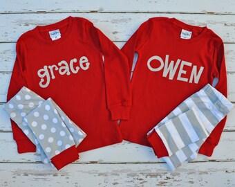 Christmas Stripe and Dots Pajamas -Christmas Personalized Pajamas -Christmas Monogram Pajamas - Christmas Pajamas -  JULIANNE ORIGINALS