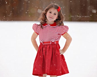 1950 Style Retro Little Red Party Dress girls children clothing