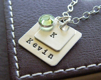 Personalized Square Charm Layering Necklace - Hand Stamped Sterling Silver - Two Layered Charm Necklace with Optional Birthstone or Pearl