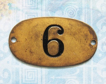 Rustic Brass Tag Number 6 Industrial Antique Vintage PO Box Painted Numbered Victorian ID Plate Jewelry Necklace Pendant Hardware