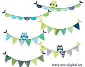 Green and Blue Party Bunting Clip Art with owls