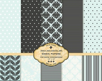 Gwen Digital Paper pack for invites, card making, digital scrapbooking