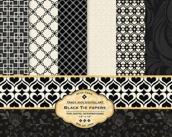 Black Tie  Digital Scrapbook papers